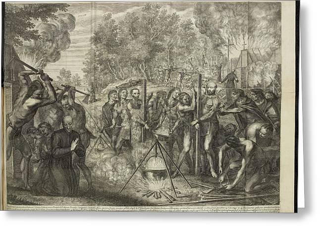 Europeans Being Put To Death By Natives Greeting Card by British Library