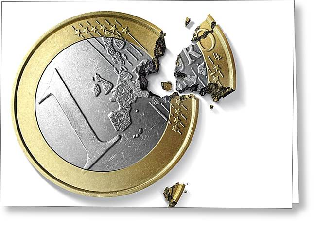 Eurozone Break-up, Conceptual Image Greeting Card by Science Photo Library