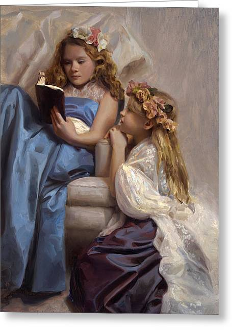 Victorian Era Portrait Of Two Girls Reading A Book Greeting Card