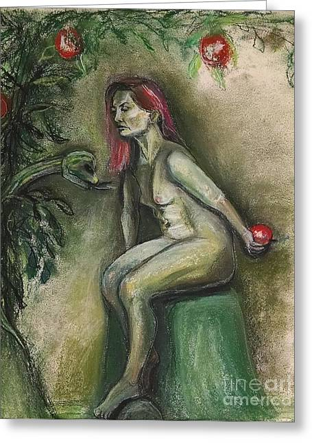 Eve In The Garden  Greeting Card by Gabrielle Wilson-Sealy