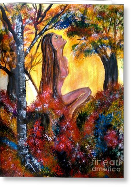 Eve In The Garden Greeting Card by Lori  Lovetere