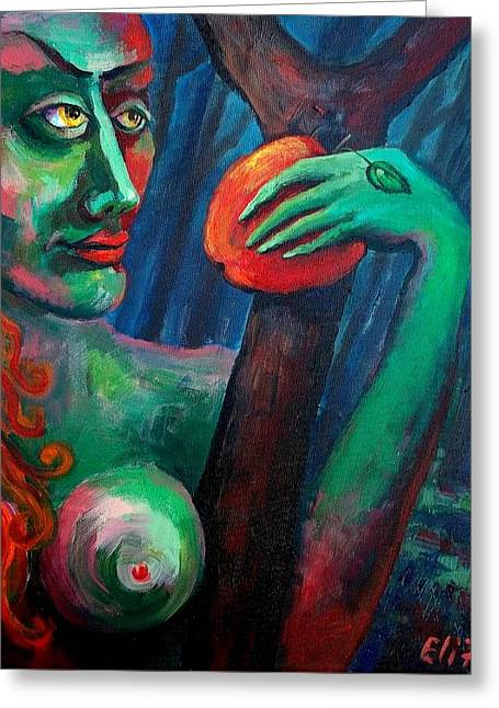 Eve With Her Own Serpent Greeting Card by Elisheva Nesis