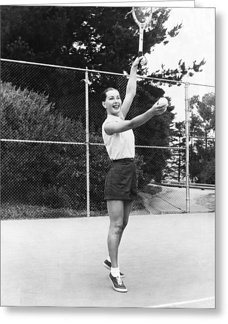 Evelyn Frey Playing Tennis Greeting Card