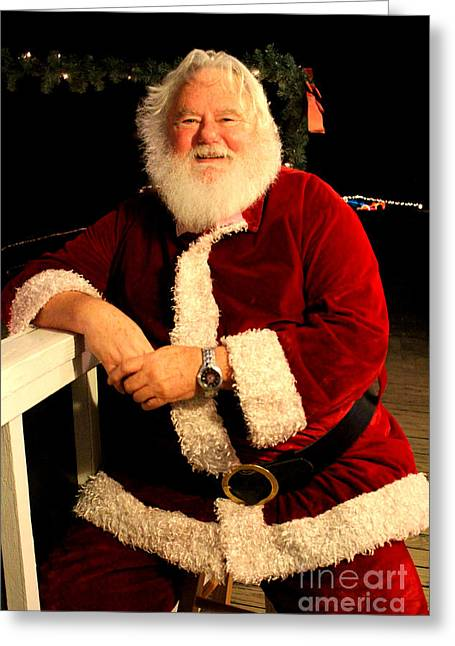Even Santa Needs A Break Greeting Card by Kathy  White
