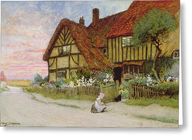 Evening Greeting Card by Arthur Claude Strachan