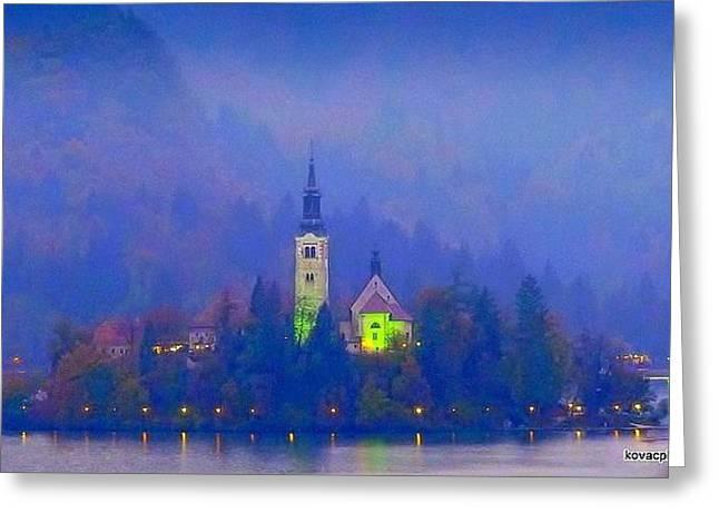 Evening At Lake Bled Greeting Card by David Kovac