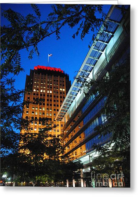 Evening At Ppl Plaza - Allentown Pa  Vertical Greeting Card