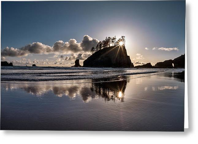 Evening At Second Beach Greeting Card by Leland D Howard
