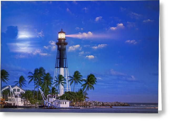 Evening At The Lighthouse Greeting Card by Mark Andrew Thomas