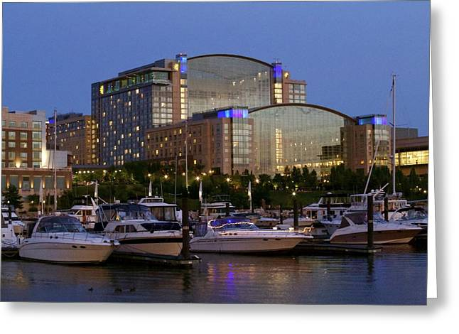 Evening At Washington National Harbor Greeting Card