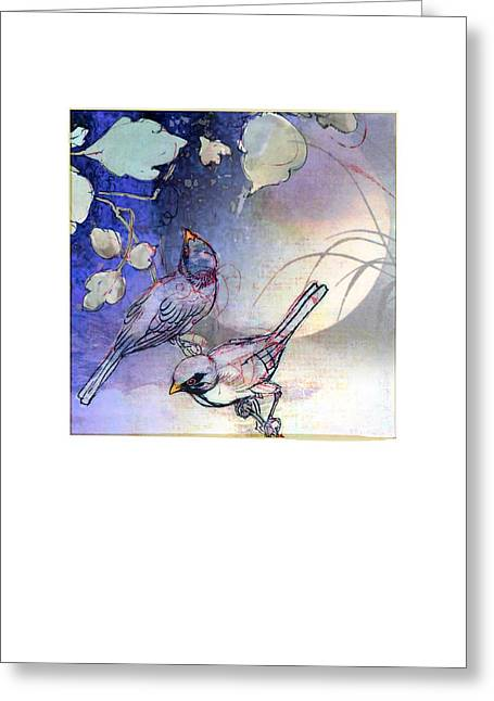 Evening Birds On Moonlit Night Greeting Card by Jeeby Designs