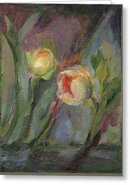 Greeting Card featuring the painting Evening Bloom by Mary Wolf
