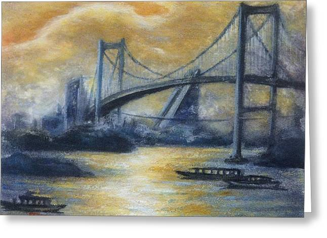 Evening Bridge Greeting Card by Tomoko Koyama