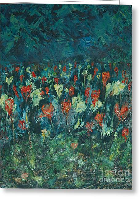 Greeting Card featuring the painting Evening Buds by Mini Arora