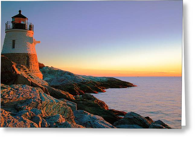 Evening Calm At Castle Hill Lighthouse Greeting Card by Roupen  Baker