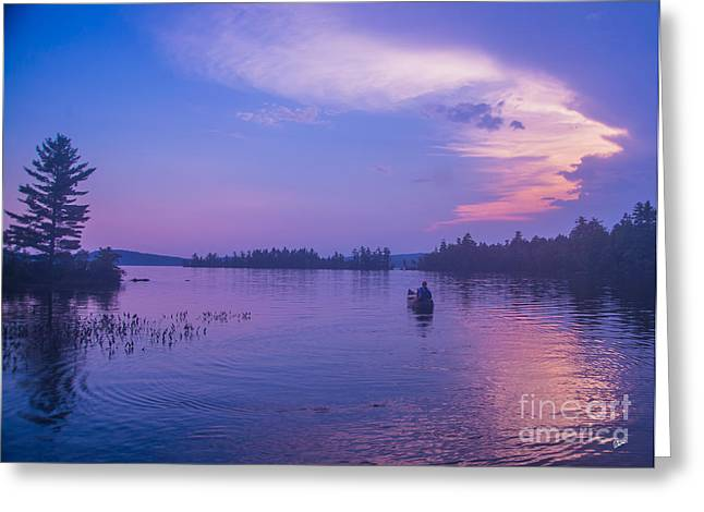 Evening Canoeing  Greeting Card