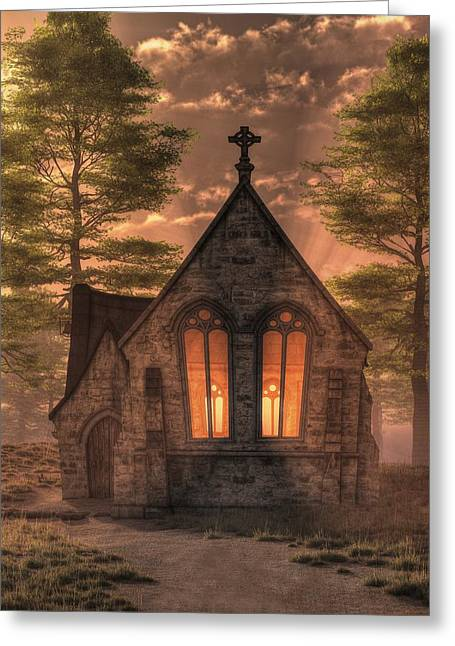 Evening Chapel Greeting Card by Christian Art