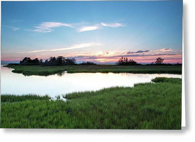 Evening Colors Fade Over A Marsh Greeting Card