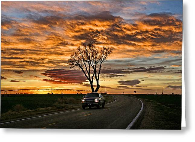 Greeting Card featuring the photograph Evening Drive by Shirley Heier