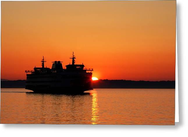 Evening Ferry Greeting Card by Alexander Fedin