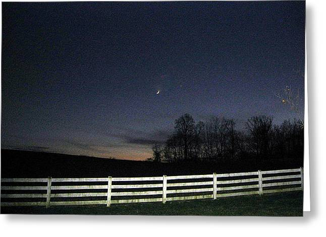Evening In Horse Country Greeting Card by Judith Morris
