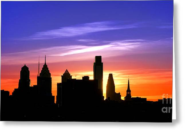 Evening In Philly Greeting Card by Olivier Le Queinec