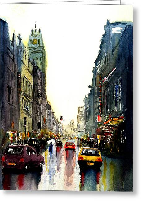 Evening In The City Greeting Card by Steven Ponsford