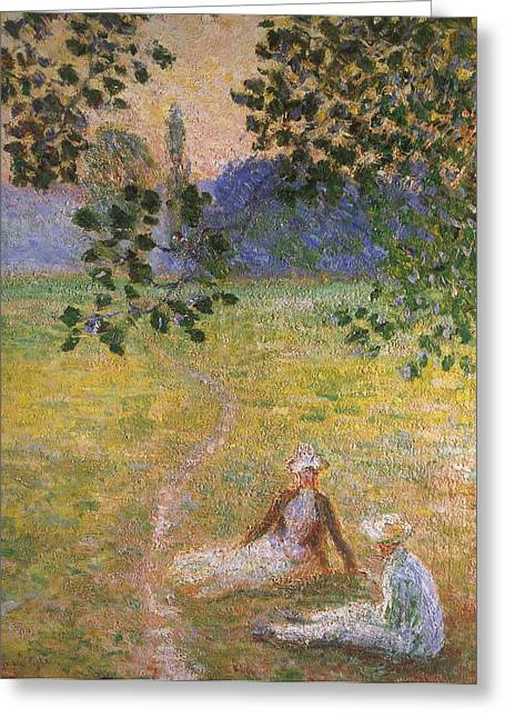 Evening In The Meadow At Giverny Greeting Card by Claude Monet