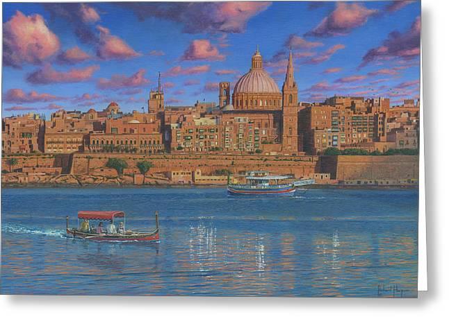Evening In Valletta Harbour Malta Greeting Card by Richard Harpum