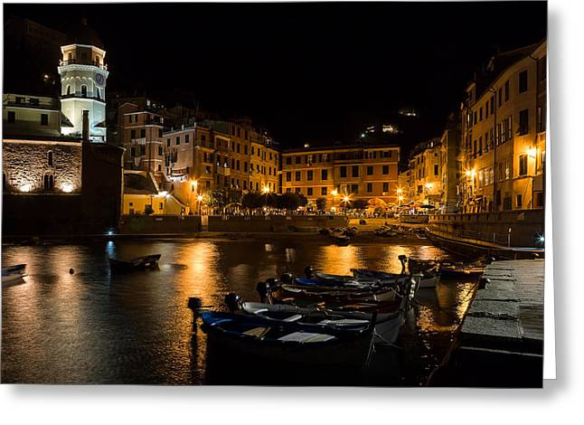 Greeting Card featuring the photograph Evening In Vernazza - Cinque Terre Italy by Carl Amoth
