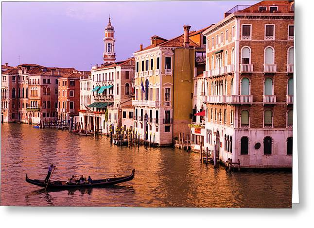 Evening Light And Gondola On The Grand Greeting Card