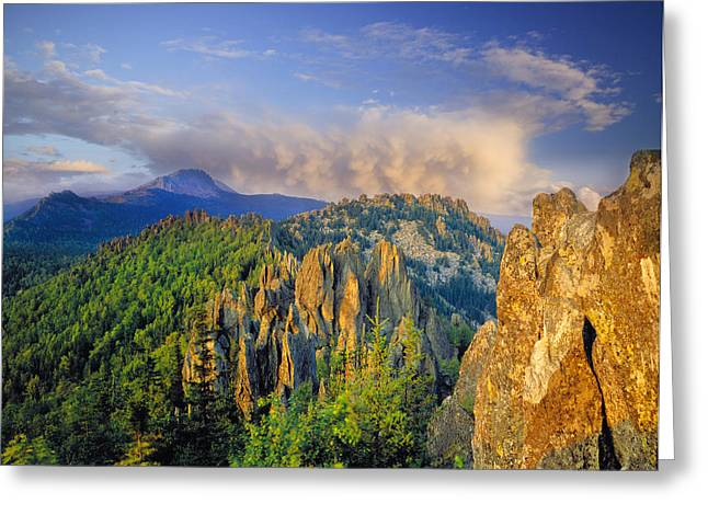 Evening Light In The Mountains Greeting Card