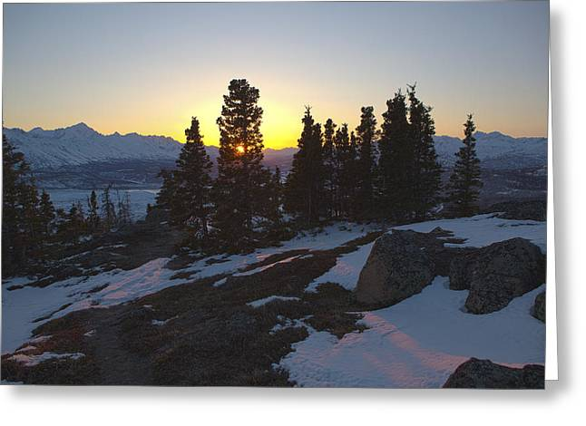 Evening Light On A Mountain Ridge Greeting Card by Tim Grams