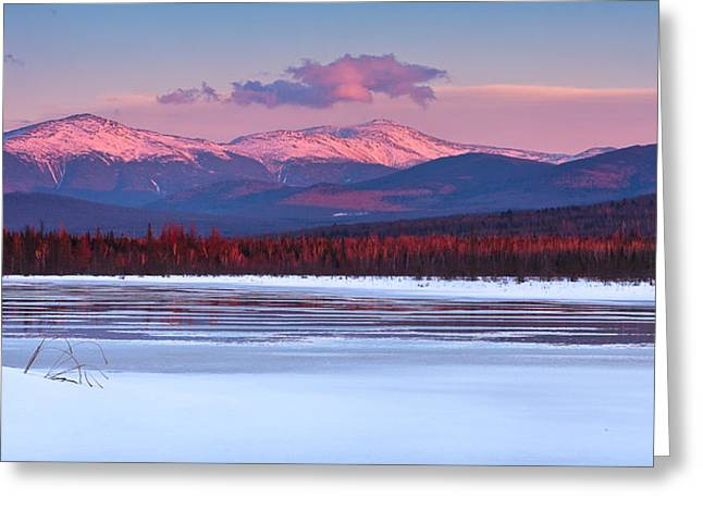 Evening Light On The Presidential Range. Greeting Card by Jeff Sinon
