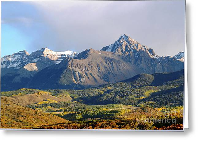 Evening Light On The Sneffels Range Greeting Card by Alex Cassels