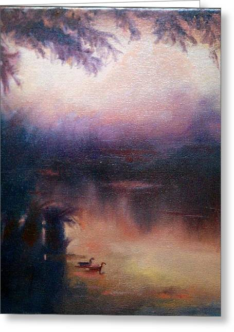 Greeting Card featuring the painting Evening Light by Rosemarie Hakim