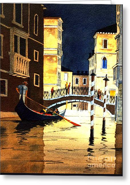 Greeting Card featuring the painting Evening Lights - Venice by Bill Holkham