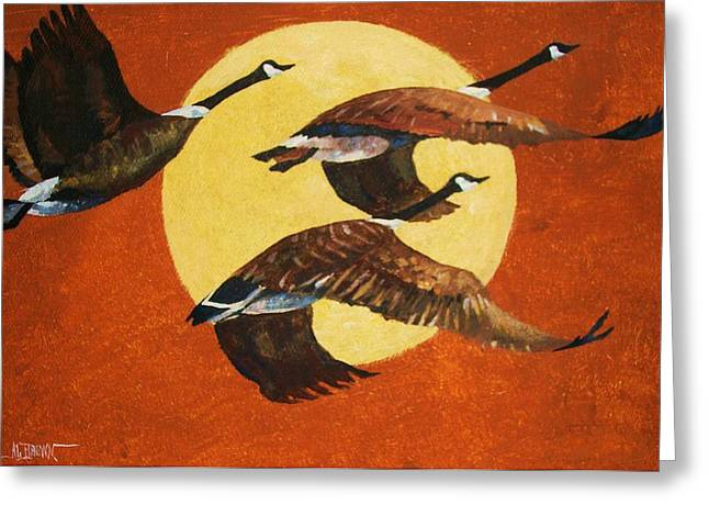 Greeting Card featuring the painting Evening Migration by Al Brown