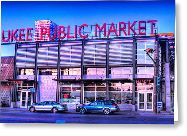 Evening Milwaukee Public Market Greeting Card