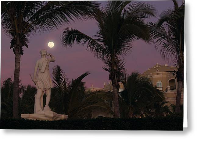 Evening Moon Greeting Card by Shane Bechler