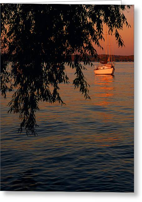 Evening Mooring - Lake Geneva Wisconsin Greeting Card by Bruce Thompson
