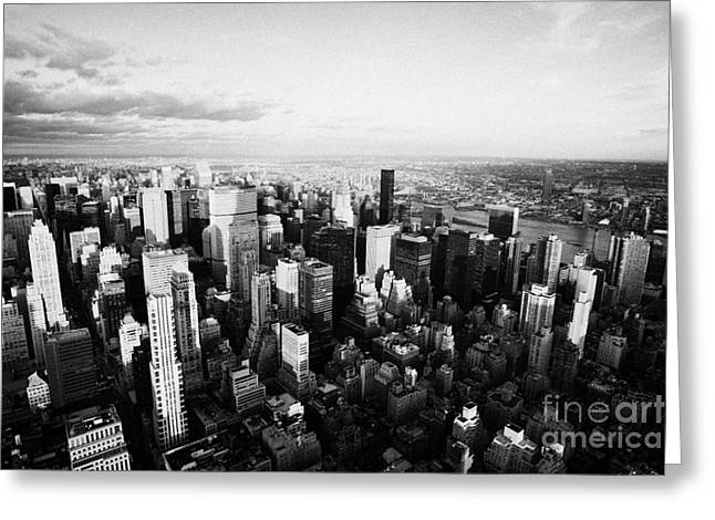Evening Night View Of North East Manhattan From Empire State Building New York City Greeting Card