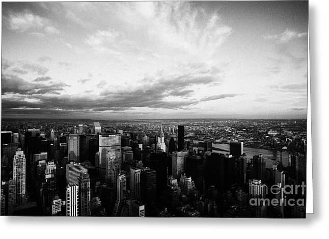 Evening Night View Of North East Manhattan Skyline New York City Greeting Card
