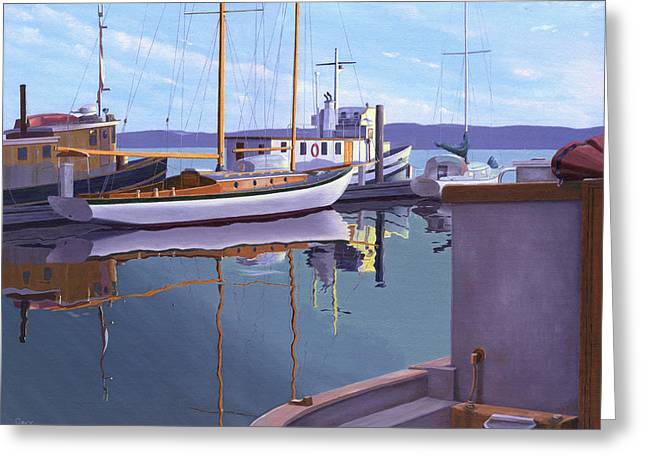 Greeting Card featuring the painting Evening On Malaspina Strait by Gary Giacomelli