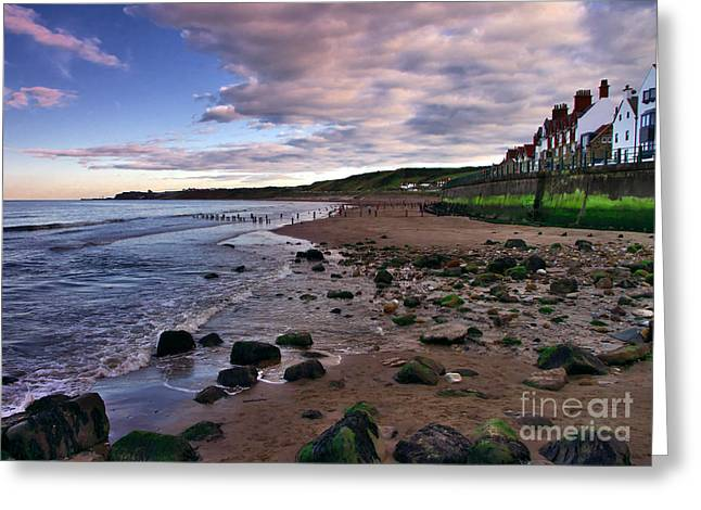 Evening On Sandsend Beach Yorkshire Greeting Card