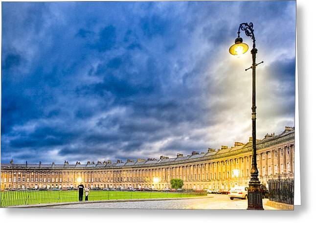 Evening On The Royal Crescent In Bath Greeting Card by Mark E Tisdale
