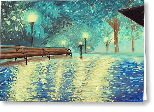 Evening Rain Greeting Card by Samantha Ramsay Behrman