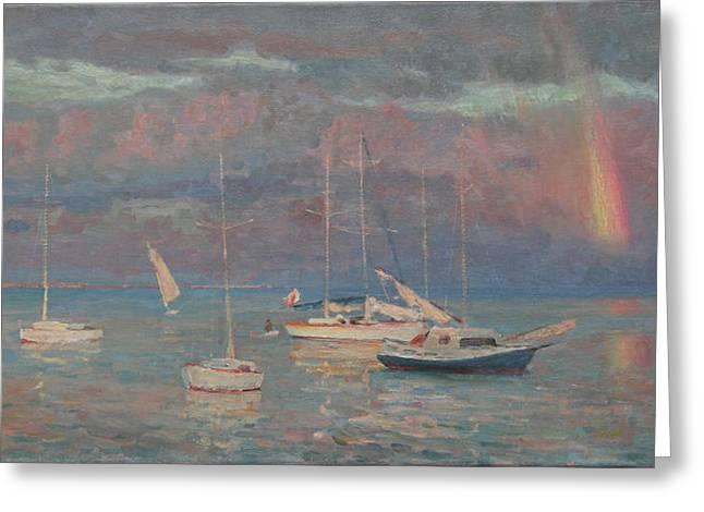 Evening Rainbow Greeting Card by Korobkin Anatoly