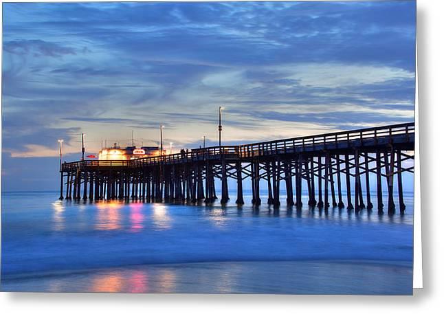 Evening Reflections Newport Beach Pier Greeting Card