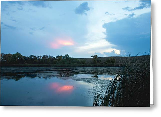 Evening Reflections On The Pond Greeting Card